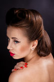 Portrait of Styled Woman. With brunette Hair Style and red lips stock images