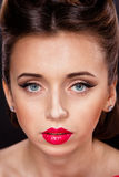 Portrait of Styled Woman. With brunette Hair Style and red lips stock photos