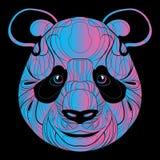 Portrait stylisé d'un panda art linéaire La tête illustration de vecteur