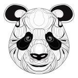Portrait stylisé d'un panda art linéaire La tête d'un ours Panda heureux tatouage illustration libre de droits