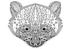 Portrait stylisé d'un raton laveur Portrait ornemental d'un ours Le chef est un petit panda Rath linéaire Zentangle tatouage Photo libre de droits