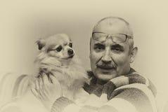 Portrait stylisé de l'homme et de son petit chien mignon Photo libre de droits