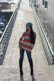 Portrait of stylish Asian girl on the street Royalty Free Stock Images