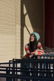 Portrait of stylish Asian girl on the street Royalty Free Stock Photos