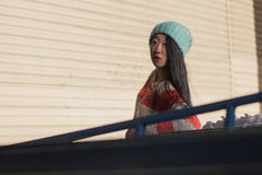 Portrait of stylish Asian girl on the street Stock Images