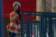 Portrait of stylish Asian girl on the street Royalty Free Stock Photography