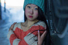 Portrait of stylish Asian girl on the street Royalty Free Stock Photo