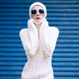 Portrait stylish autumn lady in white glamorous clothes Royalty Free Stock Image