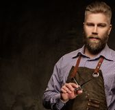 Portrait of stylish barber with beard and professional tools on a dark background. royalty free stock photos