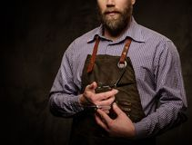 Portrait of stylish barber with beard and professional tools isolated on a dark  background. Stock Image