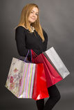 Portrait of stylish beautiful girl holding shopping bags Stock Image