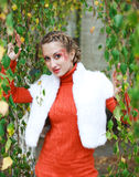 Portrait stylish girl in orange Stock Photography