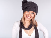 Portrait of a stylish girl in winter wool hat Royalty Free Stock Photos