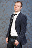 Portrait of a Stylish Handsome Young Man Standing Stock Photos