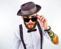 Portrait of a stylish hipster stock photography