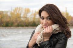 Portrait of a stylish Hispanic woman during autumn stock image
