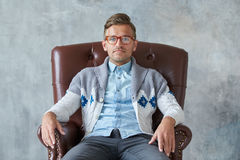 Portrait of a stylish intelligent man with glasses Royalty Free Stock Photos