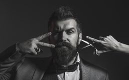 Portrait of stylish man beard. Bearded man, bearded male. Barber scissors, barber shop. Vintage barbershop, shaving royalty free stock images