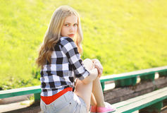 Portrait of stylish pretty blonde outdoors Royalty Free Stock Photos