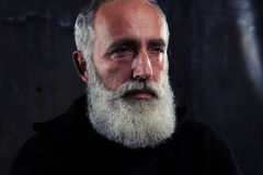 Portrait of stylish serious man expressing his masculinity while. Extreme close-up of man with gray beard and moustache wearing shirt and pullover. Looking at Stock Photos
