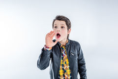 Portrait of stylish shouting boy Royalty Free Stock Photo