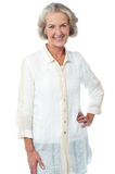 Portrait of stylish trendy smiling aged woman Royalty Free Stock Images