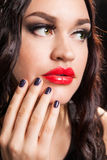 Portrait of stylish woman with fashion make-up Stock Photos