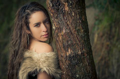 Portrait of stylish woman in fur Stock Photo