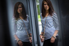 Portrait of stylish woman on the street Royalty Free Stock Photo