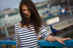 Portrait of stylish woman on the street Stock Photo