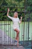 Portrait of stylish woman wearing fashion dress Royalty Free Stock Images