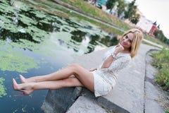 Portrait of stylish woman wearing fashion dress Stock Image