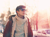 Portrait of stylish young man in sunglasses Stock Photos