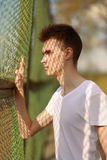 Portrait stylish young man in sunny summer day Royalty Free Stock Photography