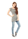 Portrait of stylish young model in blue jeans. Portrait of stylish model in blue jeans Royalty Free Stock Photography