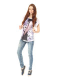 Portrait of stylish young model in blue jeans Royalty Free Stock Photo