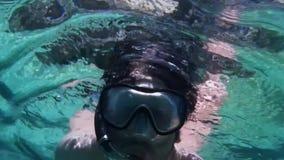 Portrait sub underwater stock video