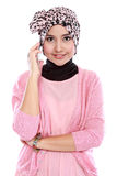 Portrait of a successful asian muslim woman calling by phone Royalty Free Stock Photo