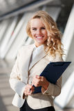 Portrait of successful beautiful business woman indoor Stock Photos