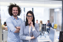 Portrait of successful Business people. Entrepreneur At Busy startup Office royalty free stock photography