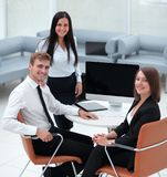 Portrait of successful business team near the desktop Royalty Free Stock Images
