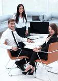 Portrait of successful business team near the desktop. Successful business team near the desktop . photo with copy space Royalty Free Stock Image