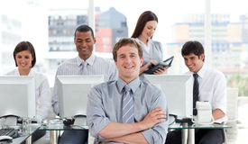 Portrait of a successful business team at work. In the office Stock Images