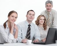 Portrait of successful business team in the workplace in the office stock photo