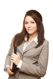 Portrait successful business woman with documents Royalty Free Stock Photos