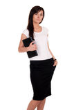 Portrait of successful business woman with laptop. Royalty Free Stock Images