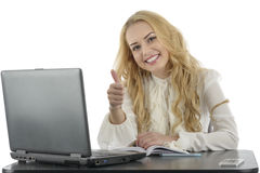 Portrait of successful business woman showing thumbs up Stock Photography