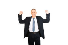 Portrait of successful businessman with arms up Royalty Free Stock Image
