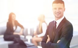 Successful businessman on blurred background office Stock Photos