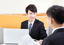Portrait of successful businessman at the interview Royalty Free Stock Photography